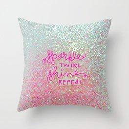 Sparkle Twirl Shine Repeat - White / Pink Sparkle Throw Pillow
