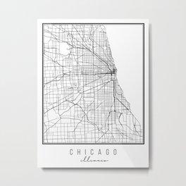 Chicago Illinois Street Map Metal Print