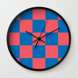 retro classic blue-and-red plaid Liderc Wall Clock