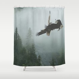 Battle for the Cedars - Bald Eagles Wildlife Scene Shower Curtain