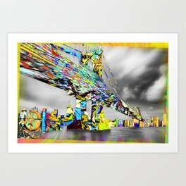 New York City Manhattan Bridge Pure Pop Gold Art Print