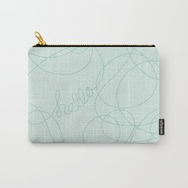 Hello in Teal Squiggles Carry-All Pouch