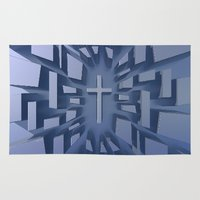 christian Area & Throw Rugs featuring Abstract 3D Christian Cross by politics