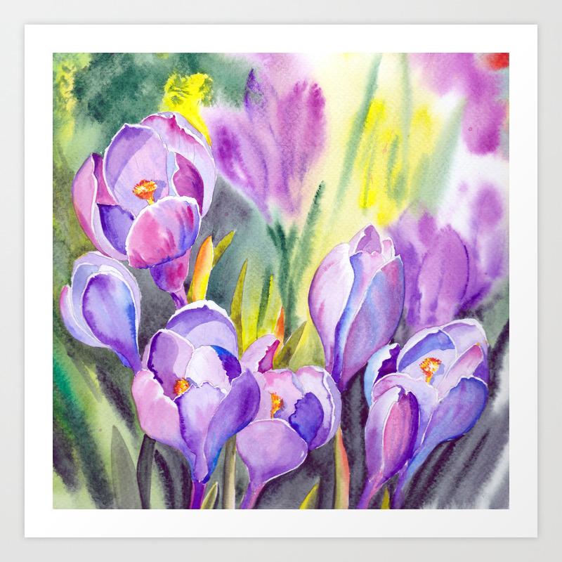 Purple Crocus Flowers Art Print By Jeannadano Society6