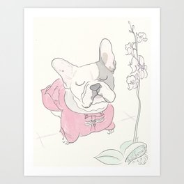 Sweet Frenchie French Bulldog Orchid Love Art Print