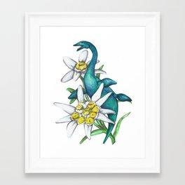 E is for Elasmosaur and Edelweiss Framed Art Print