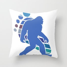Funny Bigfoot Footprint Sasquatch Gift Silhouette Novelty Gift Throw Pillow