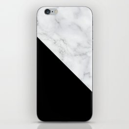 Marble Black and White Abstract Color Block iPhone Skin
