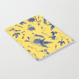 Elegant Blue Passion Flower on Mustard Yellow Notebook