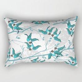 Lovebirds — Teal • Gray Rectangular Pillow