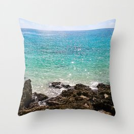 The Rocky Sea Shores of Cayman Island Throw Pillow