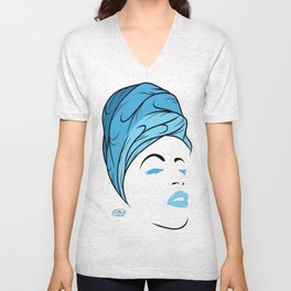 Lady Wrap (blue) Unisex V-Neck