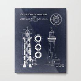 Green Cape Lighthouse Blueprint art print Metal Print