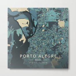 Porto Alegre, Brazil - Cream Blue Metal Print