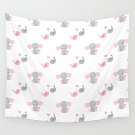 Pink Elephant Chickadee Bird Heart Wall Tapestry