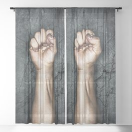 Protest fist Sheer Curtain