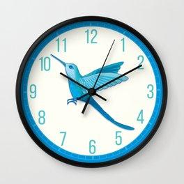 Blue hummingbird colibri Wall Clock