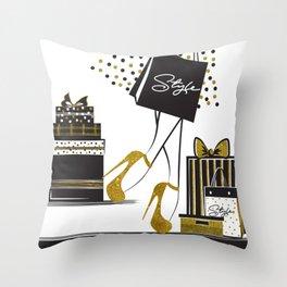 Chic girl in gold high heels.Glitter design. Throw Pillow