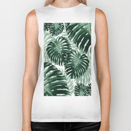 Tropical Monstera Jungle Leaves Pattern #1 #tropical #decor #art #society6 Biker Tank