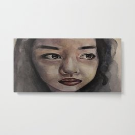 Art, watercolor portrait asian girl Metal Print
