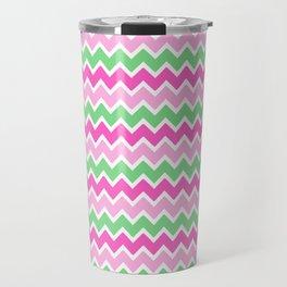 Green Pink Ombre Chevron Travel Mug