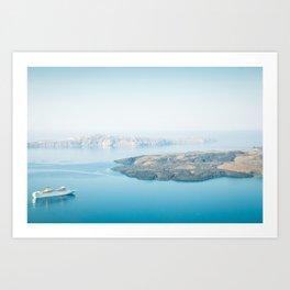 Beautiful landscape with sea view. Cruise liner at the sea near the Nea Kameni, a small Greek island Art Print