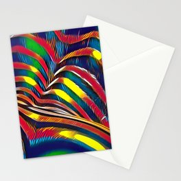 2602s-AK Nude Body Back Striped Abstraction Bright Color Pastel by Chris Maher Stationery Cards