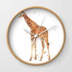 giraffe, african animals, wildlife, cute baby giraffe, nursery animals, safari Wall Clock