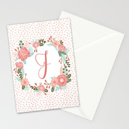 Monogram J - cute girls coral florals flower wreath, coral florals, baby girl, baby blanket Stationery Cards