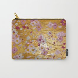 Cherry Blossoms on Gold Carry-All Pouch