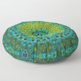 Peacock Feathers - Blue Floor Pillow