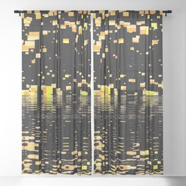 strange universe abstract digital geometric painting Sheer Curtain