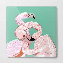 A flamingo never changes his Pink Metal Print