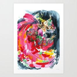 A dancing girl in a firebird suit Art Print