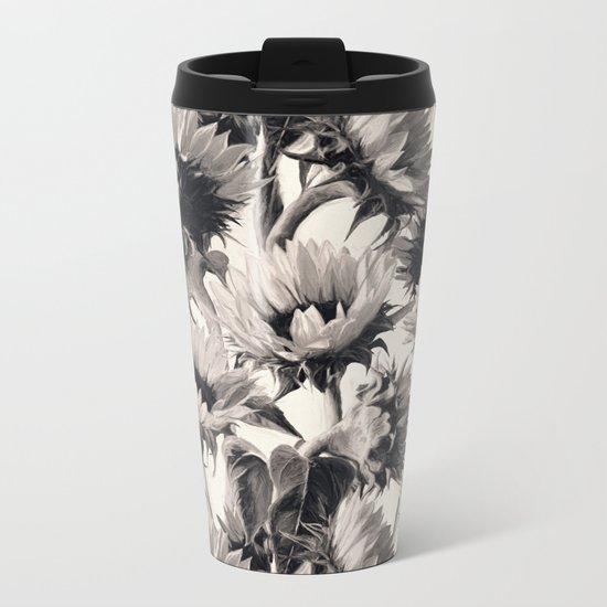 Sunflowers in Soft Sepia Metal Travel Mug