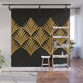 Art Deco Luxurious Gold and Ebony Black Elegant Design Wall Mural