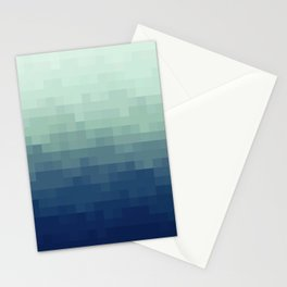 Gradient Pixel Aqua Stationery Cards