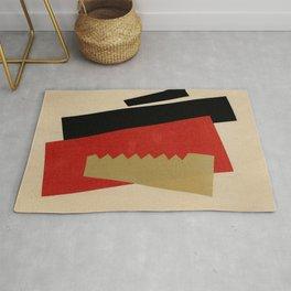 """Lyubov Popova """"Composition (Red-Black-Gold) Rug"""