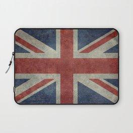 England's Union Jack flag of the United Kingdom - Vintage 1:2 scale version Laptop Sleeve