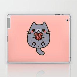 Cute kitty with heart yarn Laptop & iPad Skin