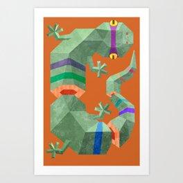 Polygonal gecko Art Print