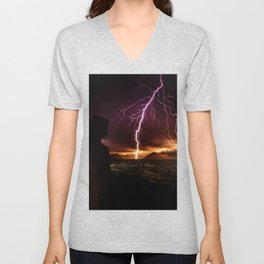 Storm seen from a helicopter by GEN Z Unisex V-Neck