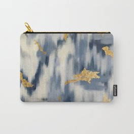 Blue and Gold Ikat Pattern Abstract Carry-All Pouch