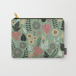 Pink & Green Floral Pattern Carry-All Pouch