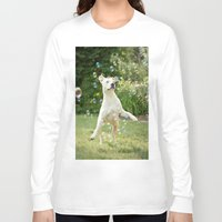pitbull Long Sleeve T-shirts featuring Pitbull and Bubbles  by Laura Ruth