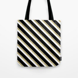 Black Gold White Stripe Pattern 1 Tote Bag