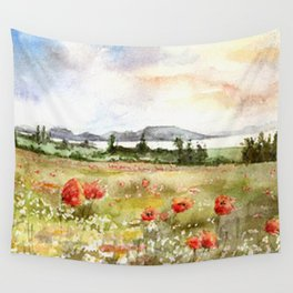 Poppies at the Lake Balaton Wall Tapestry