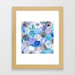 Blue Marbled Hexies Framed Art Print