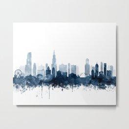 Chicago Skyline Navy Blue Watercolor by Zouzounio Art Metal Print