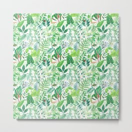 greenery watercolor pattern Metal Print